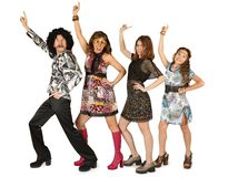 Disco family on a white background stock photography