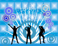 Disco fever. Vector illustration of dancing girls on an abstract blue background Stock Images