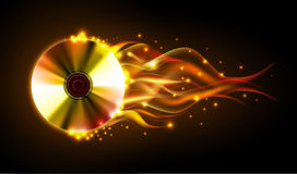 Disco fire background. Burning Disck Stock Photo