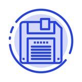 Disco floppy, disquete, línea de puntos azul línea icono de la reserva libre illustration