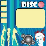 Disco flyer with club girls. Silhouettes dancing and space for sample text Stock Image