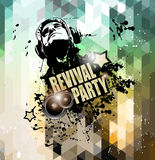 Disco flyer design for music club night events promotion stock illustration
