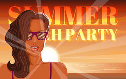 Disco flyer summer beach party Royalty Free Stock Photo