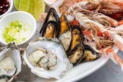 Disco fresco de los mariscos con la langosta, los mejillones y las ostras Fotografía de archivo libre de regalías