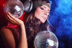 Disco girl. Close up portrait stock photography