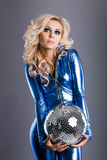 Disco girl. With mirror ball royalty free stock photography