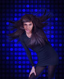 Disco girl. On blue background Stock Image