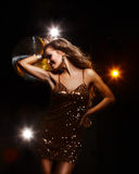 Disco girl. Portrait of dancing girl on disco party Stock Photography
