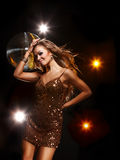 Disco girl. Portrait of dancing girl on disco party Royalty Free Stock Photography
