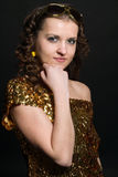 Disco girl. With golden dress Stock Photo