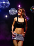 Disco girl. Portrait of dancing girl on disco party stock images