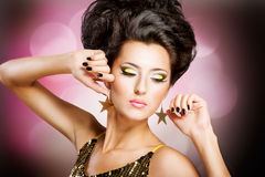 Disco girl. Fashion Disco woman with hairstyle and black nails Royalty Free Stock Photography