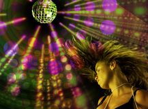 Disco girl. Girl dancing under disco lights in a night club royalty free stock photo