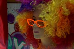 Disco girl. Portrait of a mannequin with hair colored Royalty Free Stock Photos