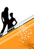 Disco girl background. An illustrated view of the silhouettes of two sexy women on a bright, disco-style poster Royalty Free Stock Photography