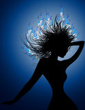 Disco girl with burning hairs Stock Photos