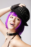 Disco girl with purple hair, hat and collar Stock Photography