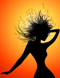 Disco girl with red burning hairs Royalty Free Stock Photography
