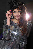 Disco girl in silver dress Royalty Free Stock Image