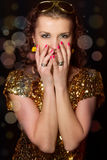 Disco girl with sparkles Stock Images