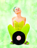 Disco girl with vinyl Royalty Free Stock Images