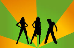 Disco girls. Three Disco girls on the color background Stock Photo