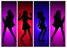 Disco Girls. A background of four different silhouetted girls dancing Stock Photos