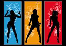 Disco Girls Flyer Poster Party. Dancing girls in retro look Royalty Free Stock Photo