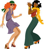 Disco girls. Two young woman dressed in 1970s fashion dancing disco, vector illustration, isolated on white, no transparencies, EPS 8 stock illustration
