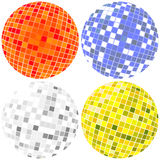 Disco globes set. Disco globes in various colors Royalty Free Stock Photography