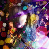 Disco glossy lady. Woman among million of light dancing Stock Photos