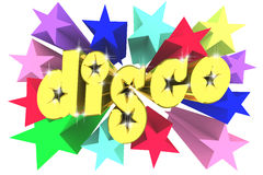 Disco golden word among bright multicolored stars Stock Photography