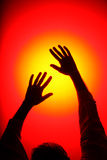 Disco Hands. Dancing Hands reach the light Royalty Free Stock Photos