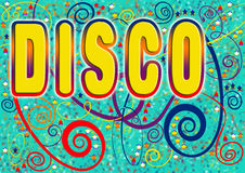 Disco header. A bright fun disco design with swirls, stars and spirals on a turquoise blue background (postcard, invite, clubbing, parties, banner, flyer Royalty Free Stock Photo