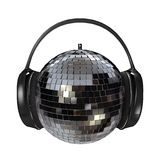 Disco headphones. 3d rendering of headphones on a disco mirrirball stock photo