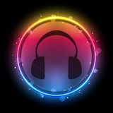 Disco Headphones with Neon Circle Royalty Free Stock Photos