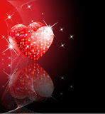 Disco heart. Red disco ball with shining stars and reflection stock illustration