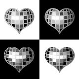 Disco Heart. Glamour Disco Heart On White And Black Background Royalty Free Stock Photography