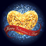 Disco heart. Heart shaped disco ball with Valentines day greeting ribbon against festive blue background Royalty Free Stock Photography