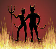 Disco Inferno. Illustration of She Devil and He Devil dancing in fire Royalty Free Stock Images