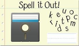 Disco inglés del ordenador de palabra del encanto ilustración del vector
