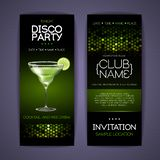 Disco invitation to cocktail party. Document template. Design vector illustration
