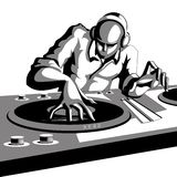 Disco Jockey. Illustration of disco jockey playing music in discotheque Stock Image