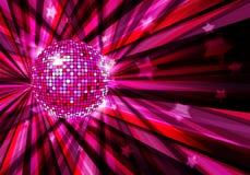 Disco-Kugelvektorhintergrund mit Strahlen und Sternen Stockfoto