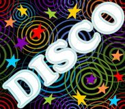 Disco label on the black background with spiral and stars Stock Photos