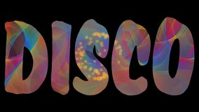Disco label, significant letters with animatec rainbow texture and small fiery sparks on black background, disco or. Nightclub animation in vivid colors, FullHD stock footage