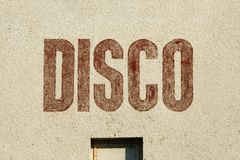Disco label on wall Stock Image