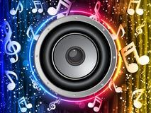 Disco-Lautsprecher mit Musik-Anmerkungen Stockfotos