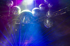 Disco light show, Stage lights with laser. Royalty Free Stock Images
