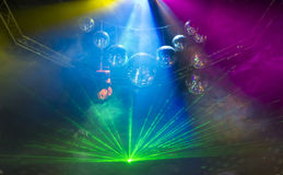 Disco light show, Stage lights with laser. Disco Royalty Free Stock Images